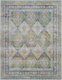 Nourison Ankara Global 9' x 12' Blue and Green Farmhouse Area Rug - 9' x 12' Rectangle Blue/Green Rug - ANR07 - 99446457394