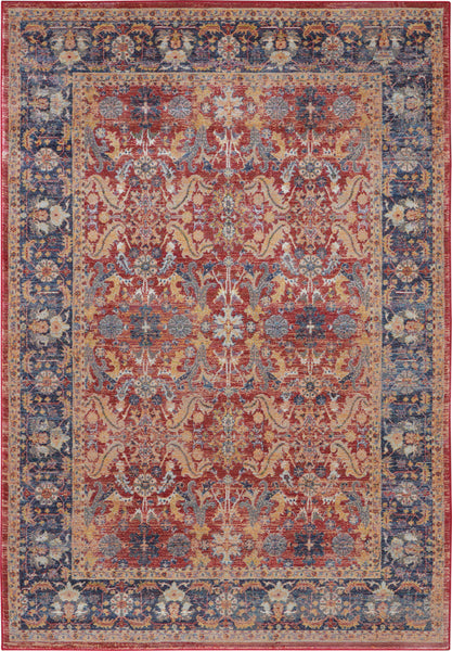Nourison Ankara Global 4' x 6' Red and Blue Multicolor Persian Area Rug - 4' x 6' Rectangle Red Rug - ANR02 - 99446456465