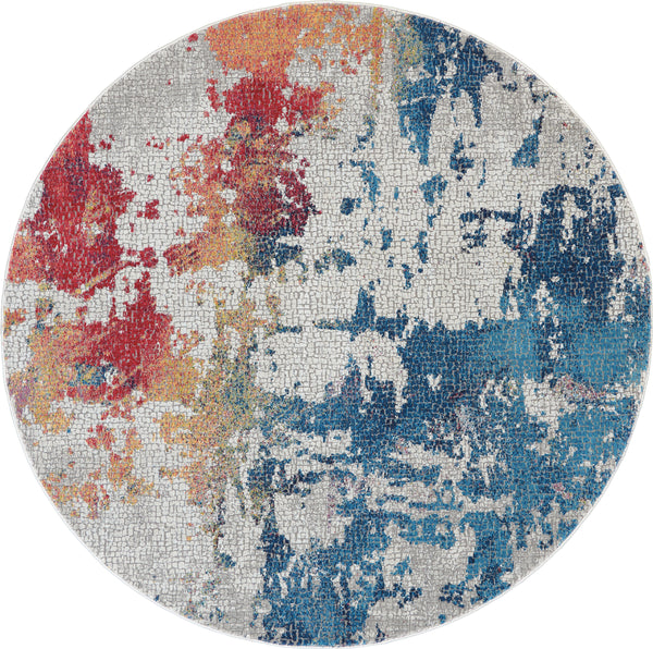 Nourison Ankara Global 6' Round Multicolor Abstract  - 6' x 6' Round Multicolor Rug - ANR10 - 99446475039