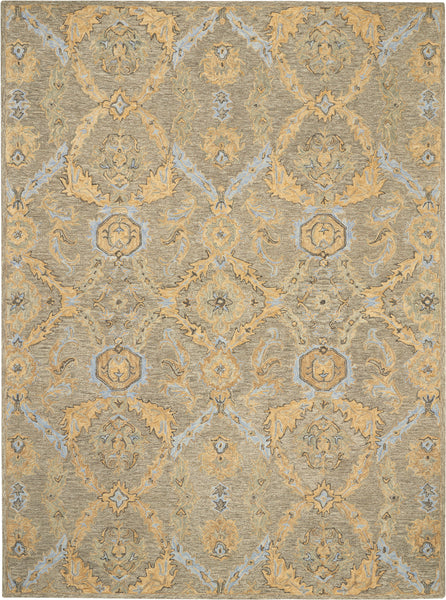 Nourison Azura AZM03 Taupe and Gold 8'x11' Pure Wool Handcrafted Rug - 8' x 11' Rectangle Taupe/Blue Rug - AZM03 - 99446492968
