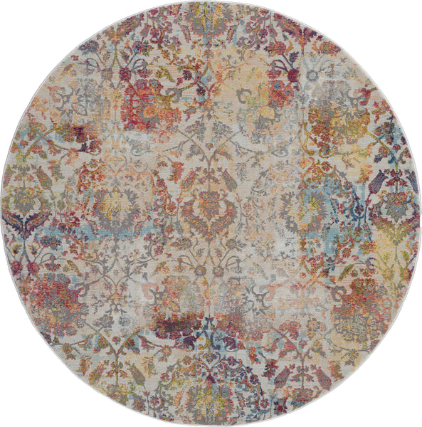 Nourison Ankara Global 4' Round White and Orange French Country Area Rug - 4' x 4' Round Ivory/Orange Rug - ANR06 - 99446457202