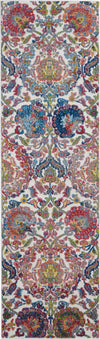 Nourison Ankara Global 6' Runner Blue and Ivory French Country Area Rug - 2' x 6' Runner Ivory/Blue Rug - ANR06 - 99446457011
