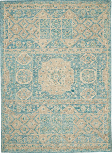 Nourison Azura AZM02 Aqua 8'x11' Pure Wool Handcrafted Rug - 8' x 11' Rectangle Ocean Rug - AZM02 - 99446492951