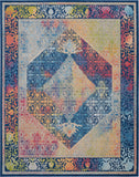 Nourison Ankara Global 9' x 12' Blue Multicolor Boho Area Rug - 9' x 12' Rectangle Blue/Multicolor Rug - ANR04 - 99446456755