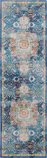 Nourison Ankara Global 6' Runner Blue Oushak Area Rug - 2' x 6' Runner Blue Rug - ANR03 - 99446456557