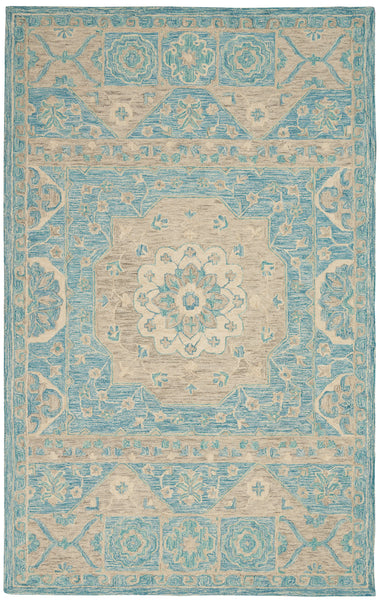 Nourison Azura AZM02 Aqua 5'x8' Farmhouse Area Rug - 5' x 7' Rectangle Ocean Rug - AZM02 - 99446492944