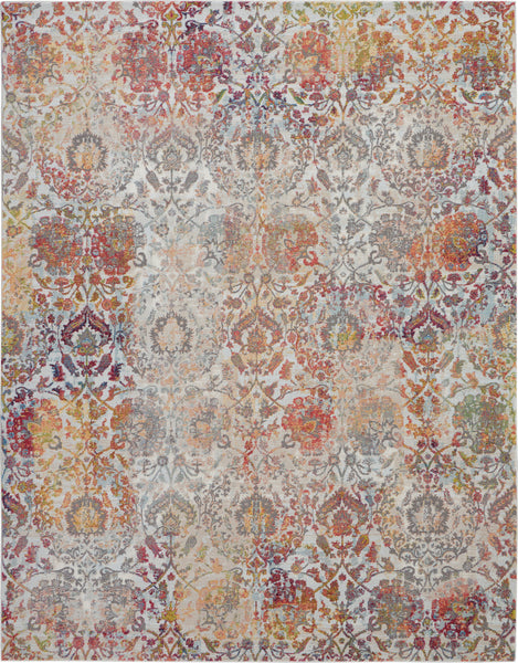 Nourison Ankara Global 9' x 12' White and Orange French Country Area Rug - 9' x 12' Rectangle Ivory/Orange Rug - ANR06 - 99446457288