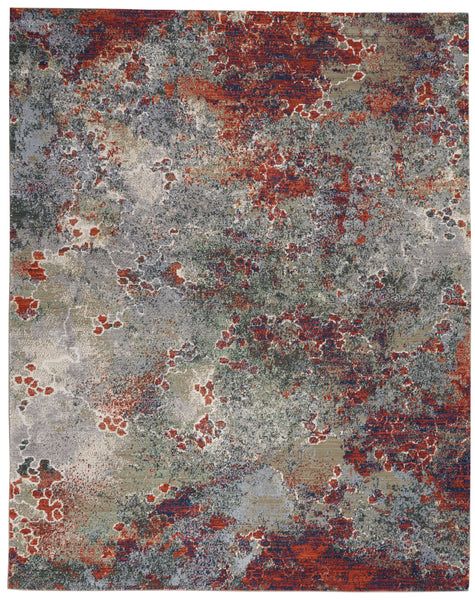 Nourison Artworks ATW02 Grey Multicolor 9'x12'   Rug - 9' x 12' Rectangle Seafoam/Brick Rug - ATW02 - 99446710765