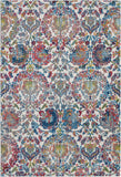 Nourison Ankara Global 5' x 8' Blue and Ivory French Country Area Rug - 5' x 8' Rectangle Ivory/Blue Rug - ANR06 - 99446457059