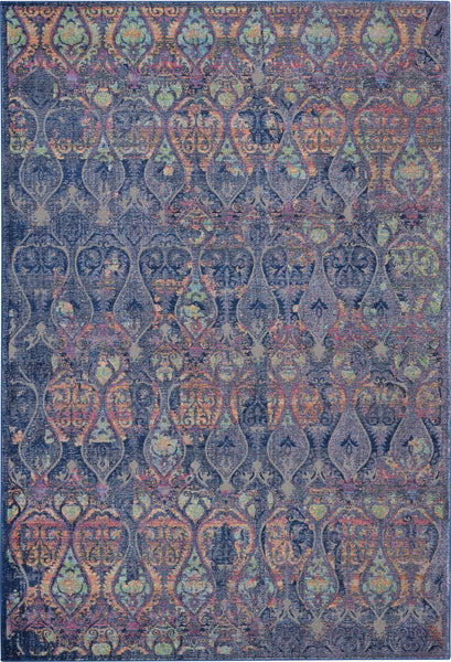 Nourison Ankara Global 2' X 4' Navy Blue Multicolor Moroccan Area Rug - 2' x 4' Rectangle Navy/Multicolor Rug - ANR08 - 99446457400