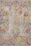 Nourison Ankara Global 4' x 6' White and Orange French Country Area Rug - 4' x 6' Rectangle Ivory/Orange Rug - ANR06 - 99446457219
