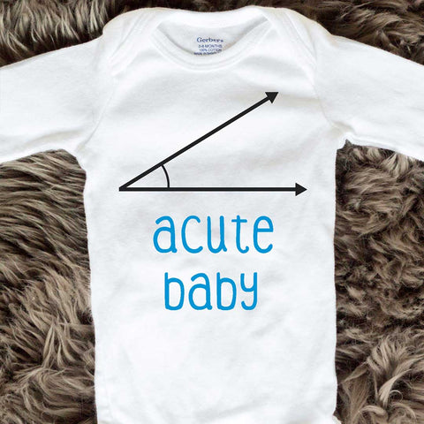 Acute Baby Onesies - Blue words - Long Sleeve