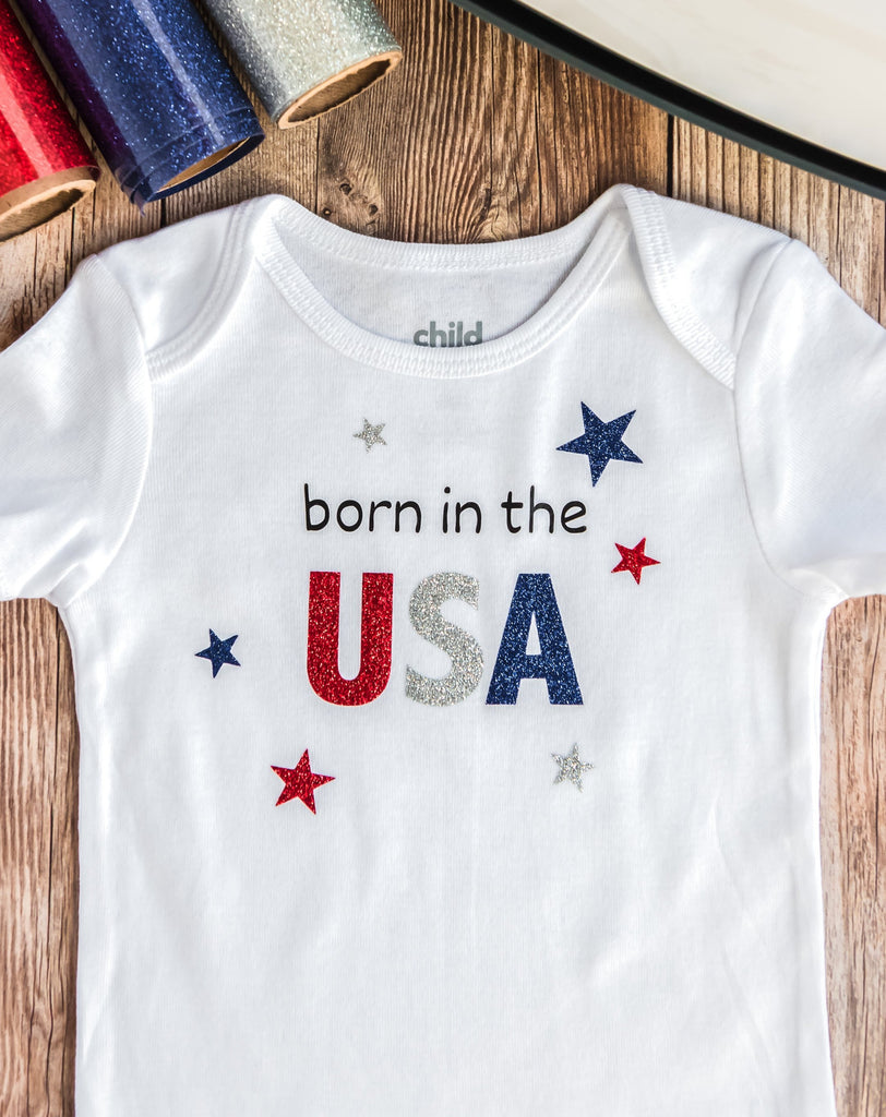 Born In The USA Glittery Baby Onesies - Short Sleeve