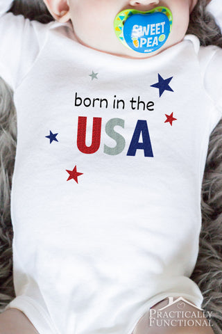 Born In The USA Glittery Baby Onesies - Long Sleeve