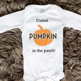 Cutest Pumpkin In The Patch Baby Onesies - Block letters - Long Sleeve