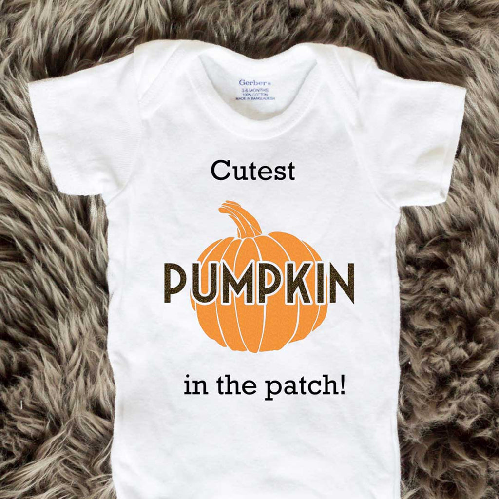 Cutest Pumpkin In The Patch Baby Onesies - Block letters - Short Sleeve