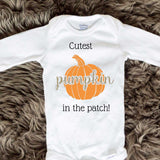Cutest Pumpkin In The Patch Baby Onesies - Cursive letters - Long Sleeve
