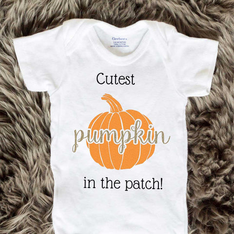 Cutest Pumpkin In The Patch Baby Onesies - Cursive letters - Short Sleeve