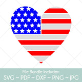 American Flag Heart - SVG Cut File Bundle