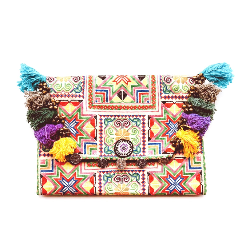 No.24 - Women's Large Embroidered Tassel Clutch