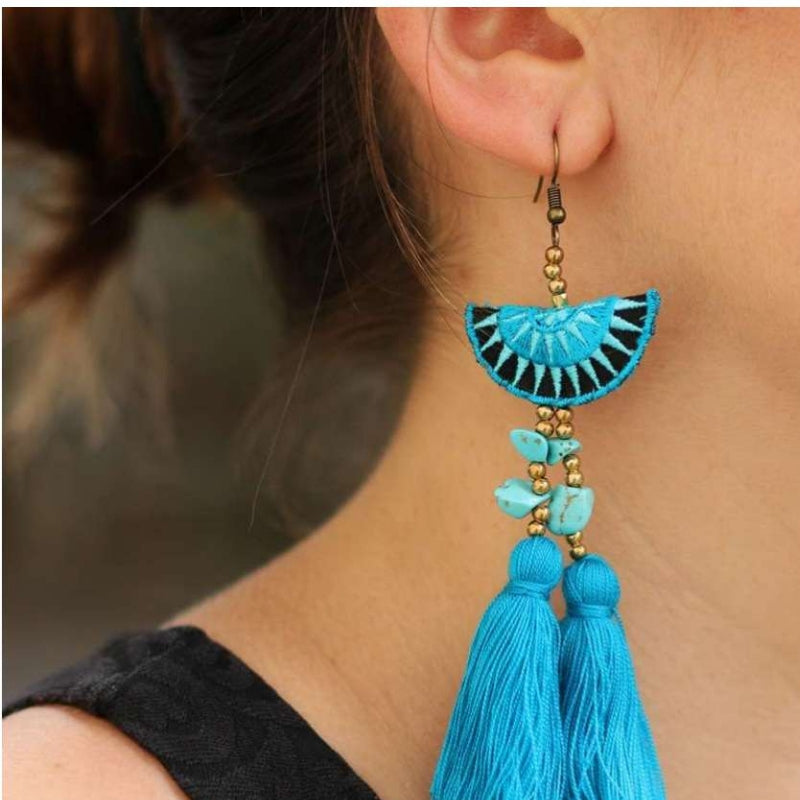 No.24 - Women's Double Tassel Earrings in Blue