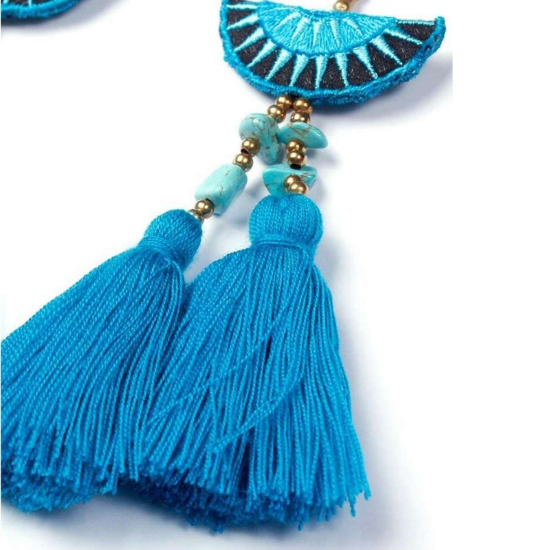 No.24 - Women's Boho Tassel Earrings Blue