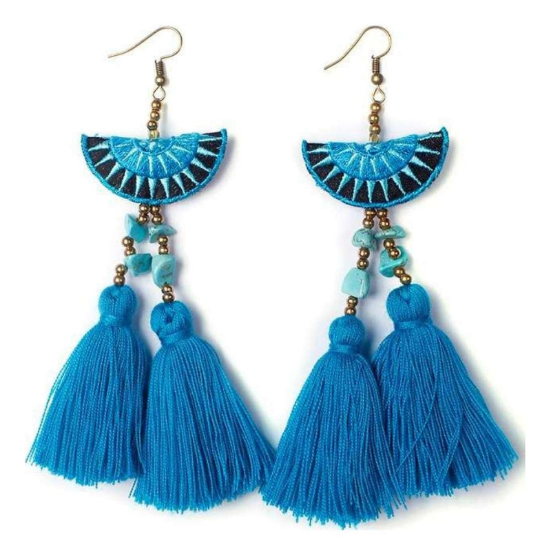 No.24 - Hmong Double Tassel Earrings in Blue
