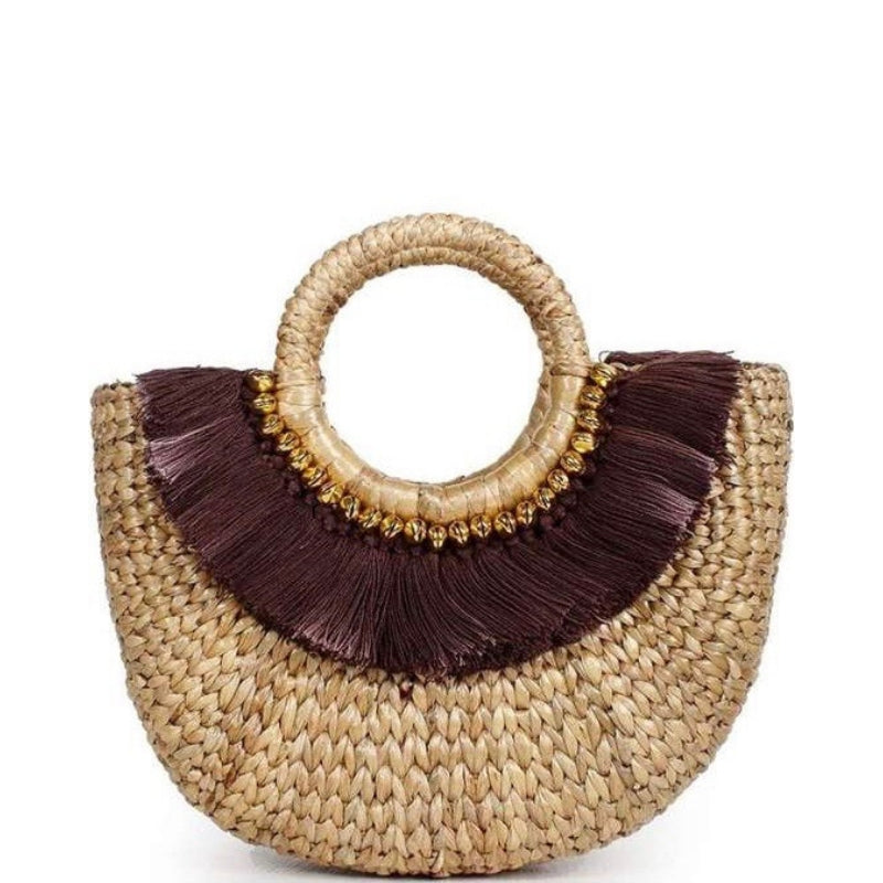 Mini Basket Island Tote with Brown Fringe