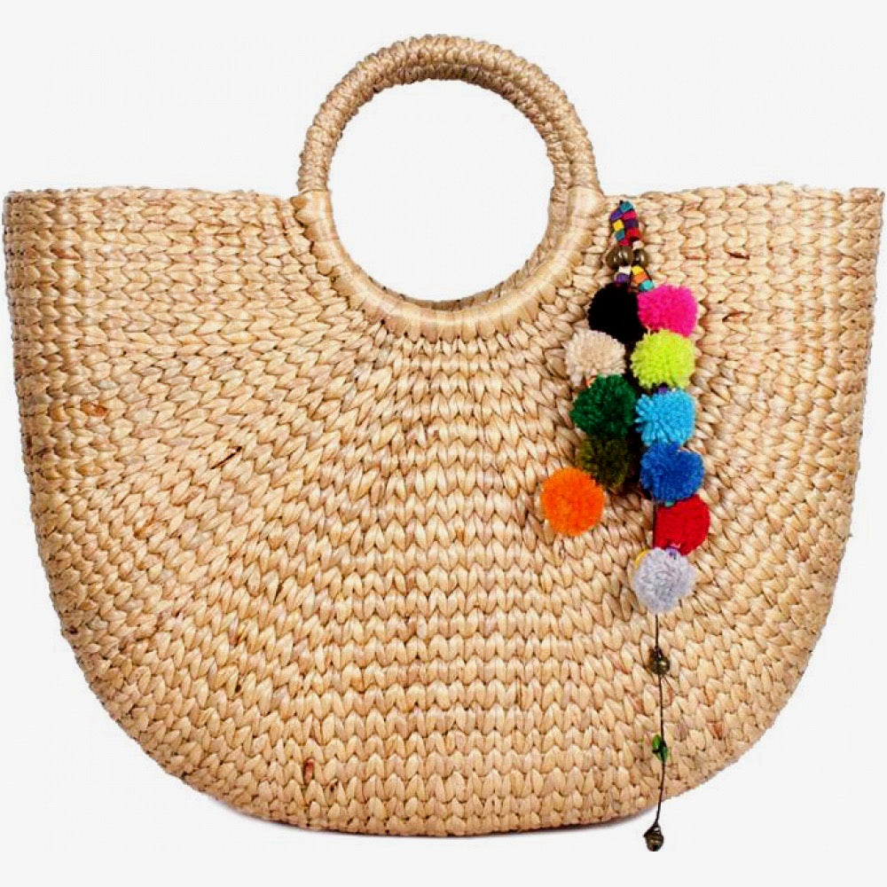 Large Boho Basket Bag with Pom Poms