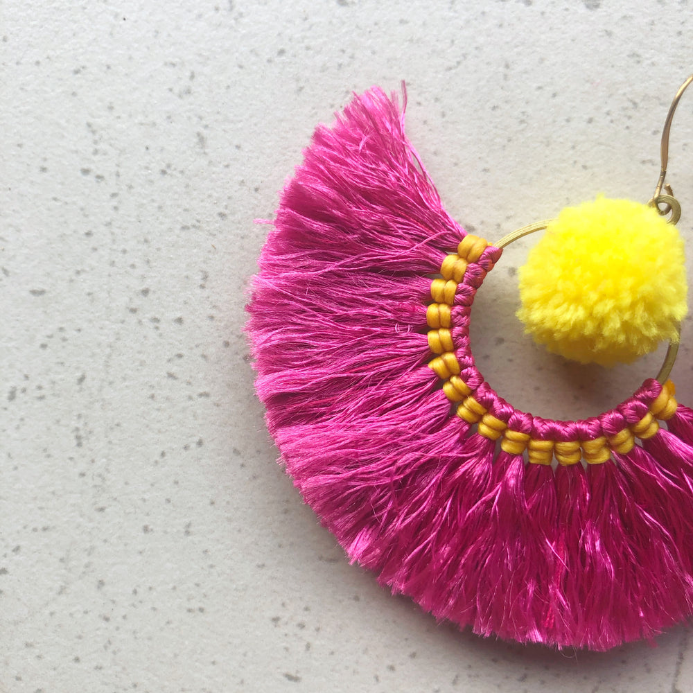 No.24 Boho Pink Tassel Earrings with Yellow Pom Poms