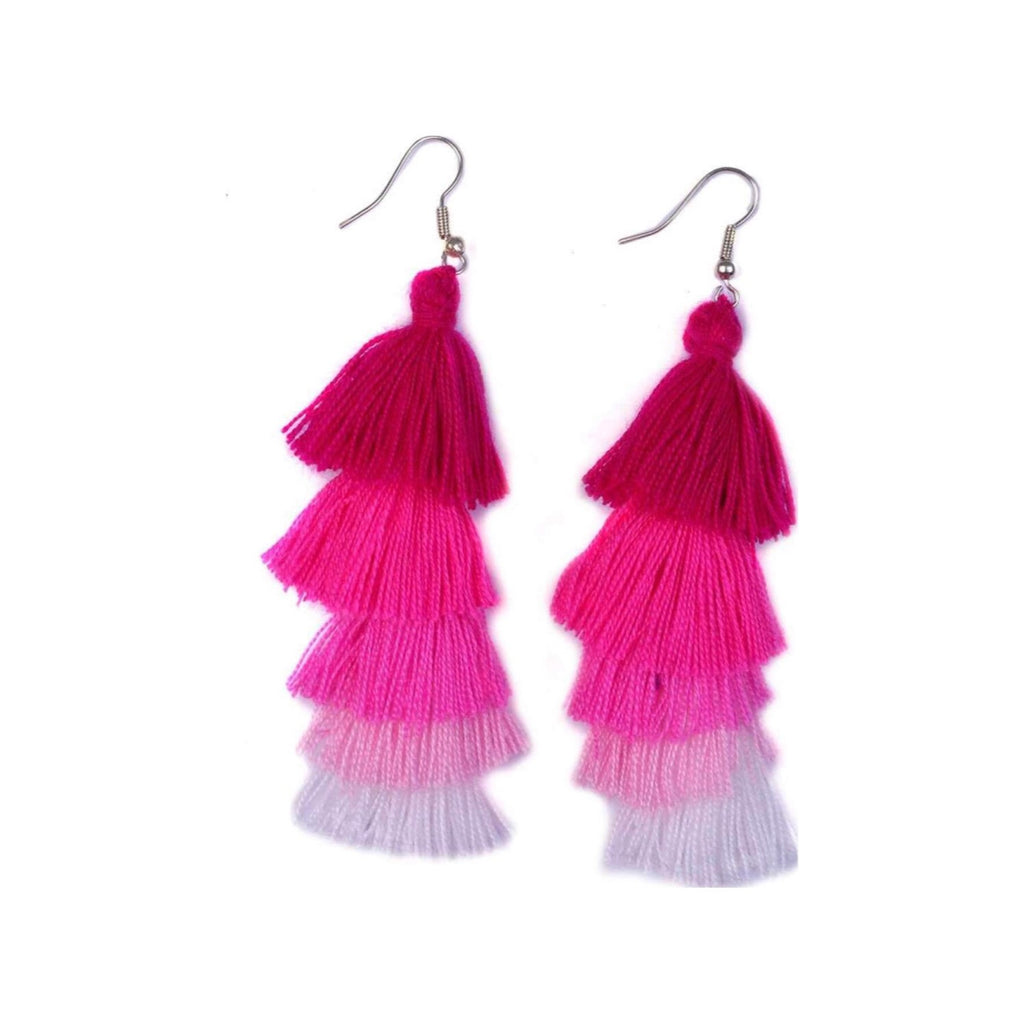 No.24 Women's Tiered Tassel Earrings Pink