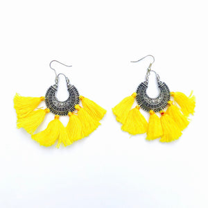 No.24 Yellow Tassel Boho Earrings