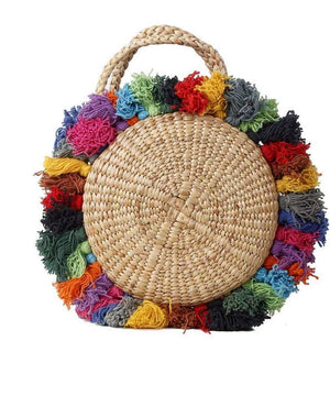 Mini Roundie Tote Basket Bag with Tassels
