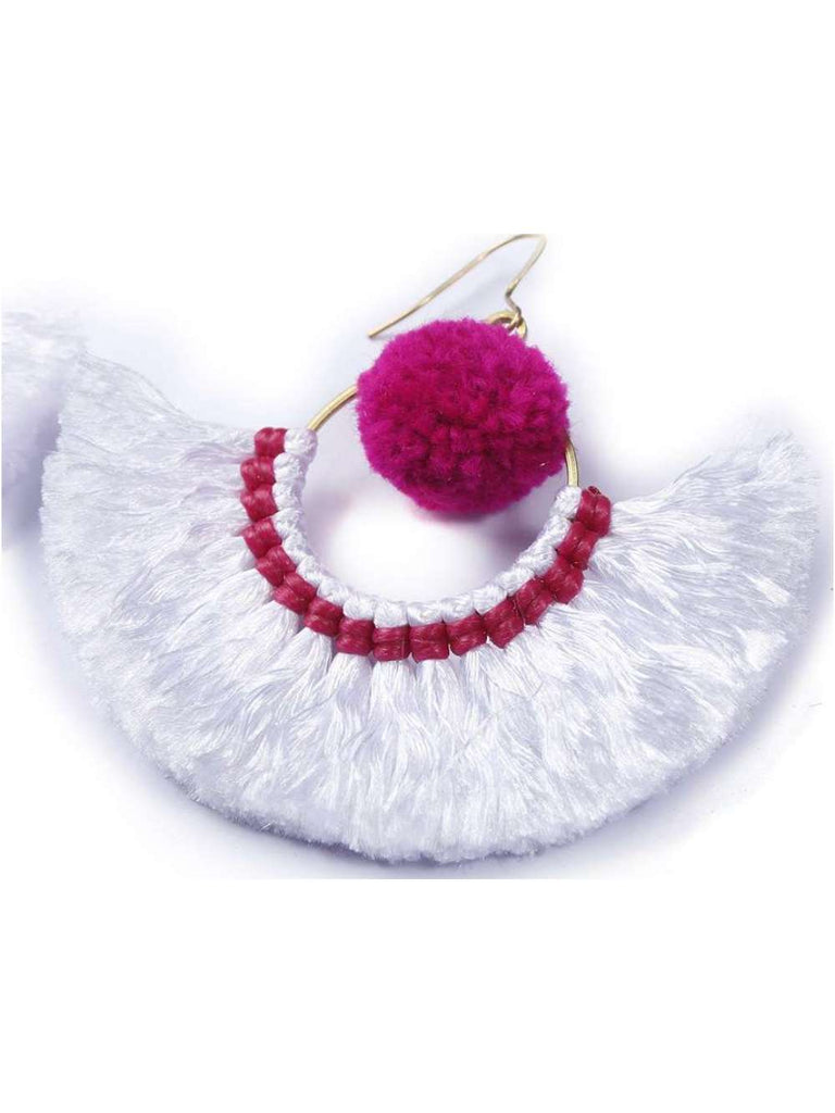Boho Tassel Earrings with Pom Pom Details - Pink and White
