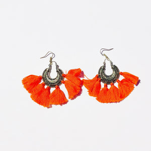 Vintage Boho Orange Tassel Earrings