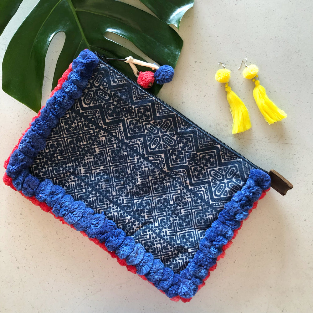 No.24 Women's Blue Batik Clutch with Blue and Red Pom Poms