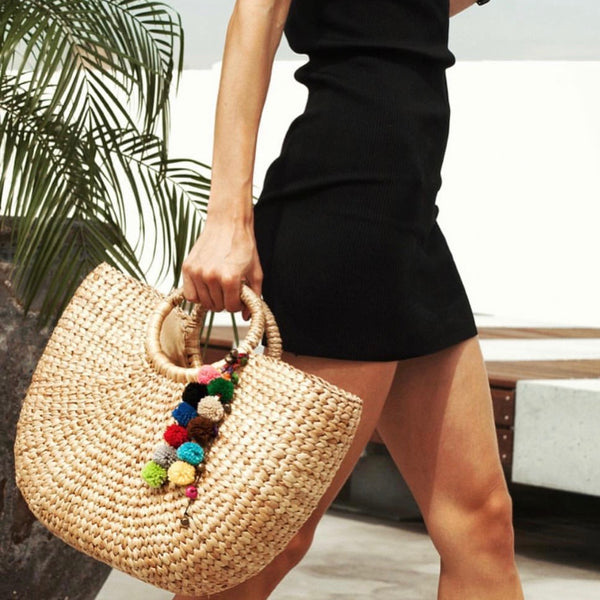 No.24 Women's Basket Bag Tote with Pom Poms