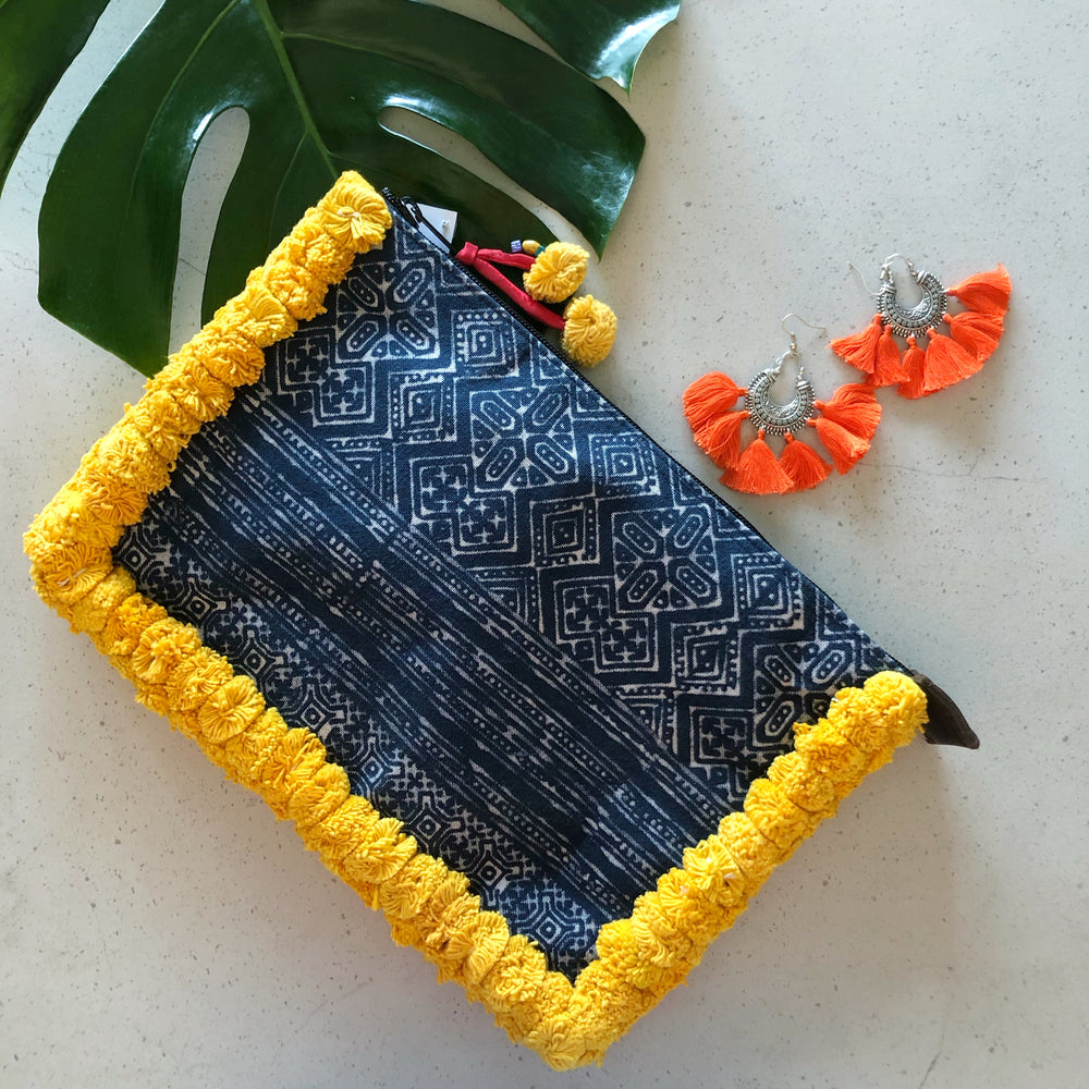 No.24 Women's Large Batik Clutch with Yellow Pom Poms