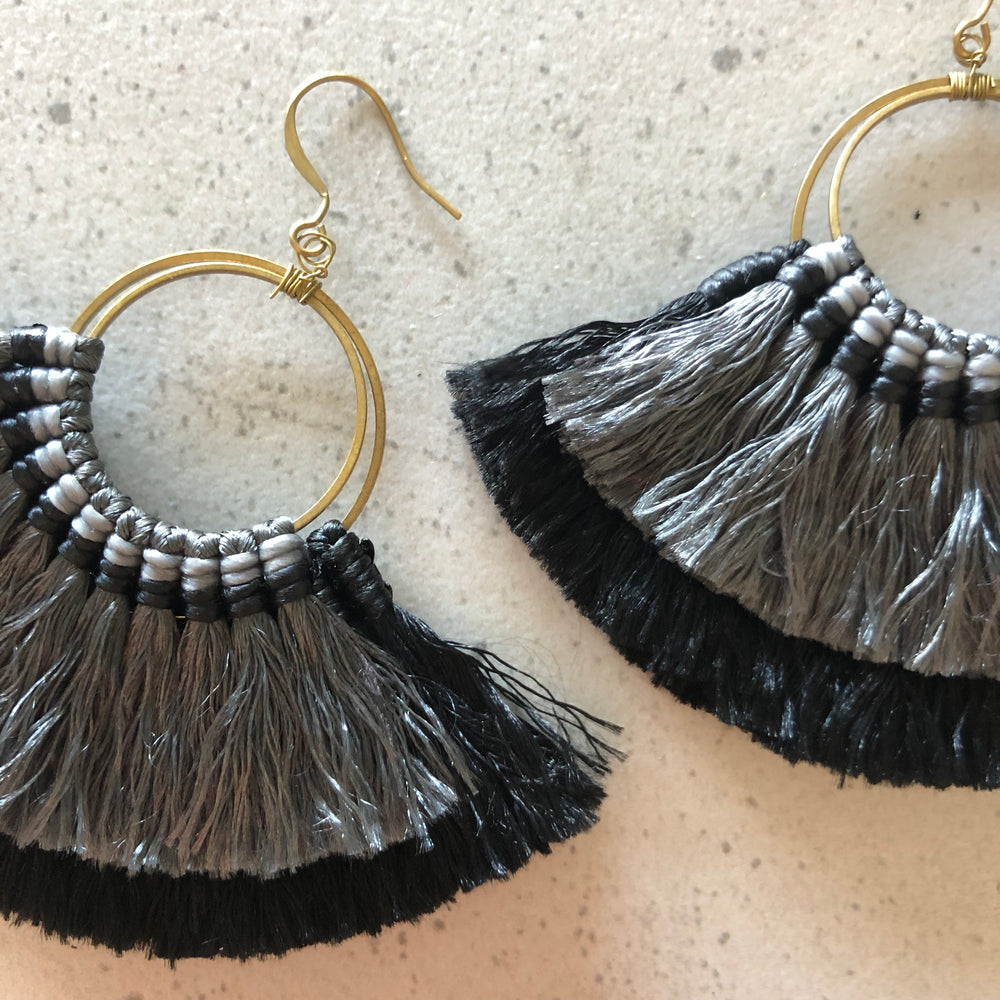 Tassel Fan Earrings Black and Grey With Brass Hook