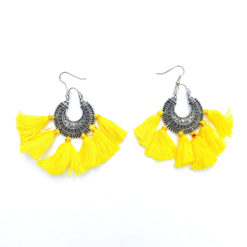 No.24 Women's Boho Tassel Earrings in Yellow