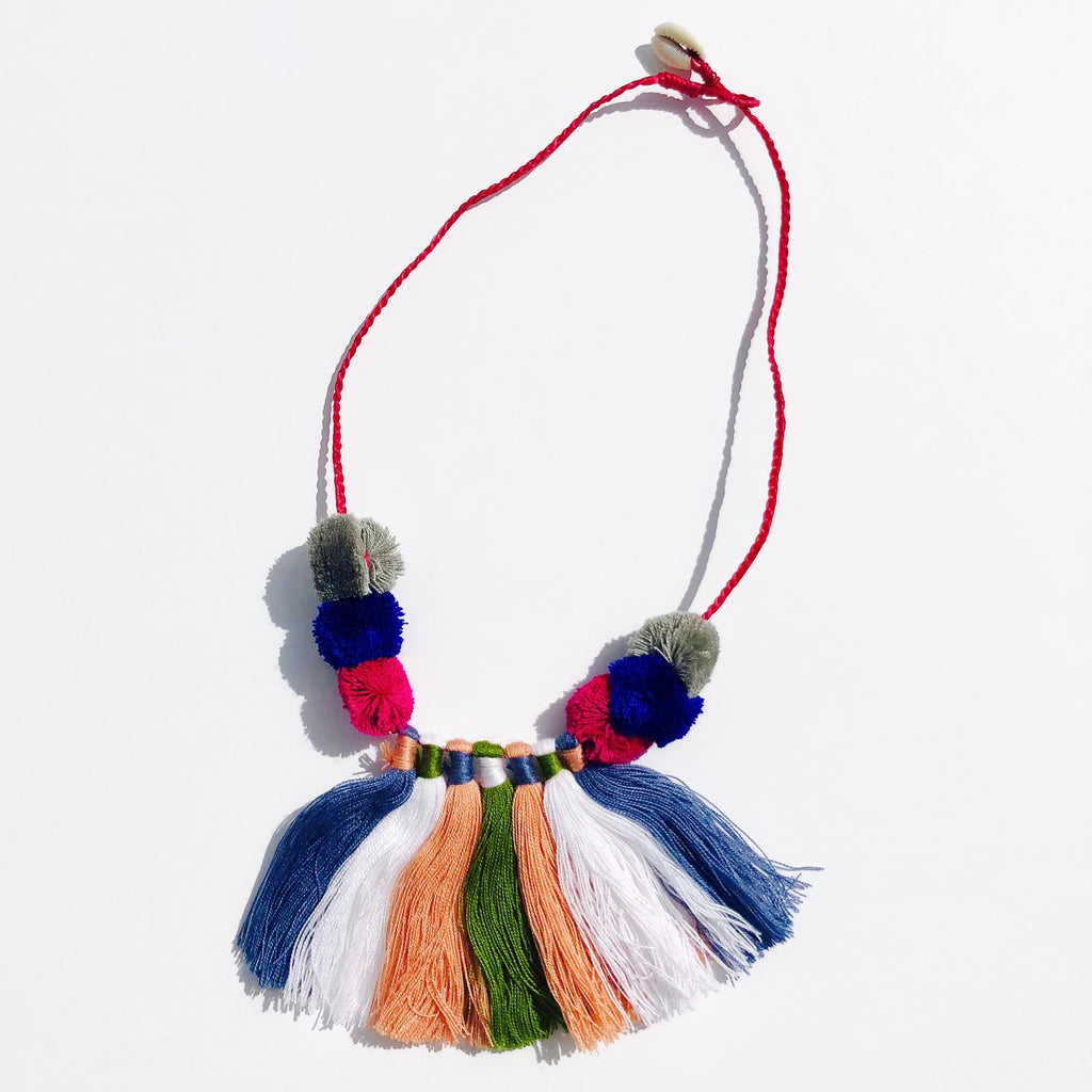 Tassel and Pom Pom Boho Necklace