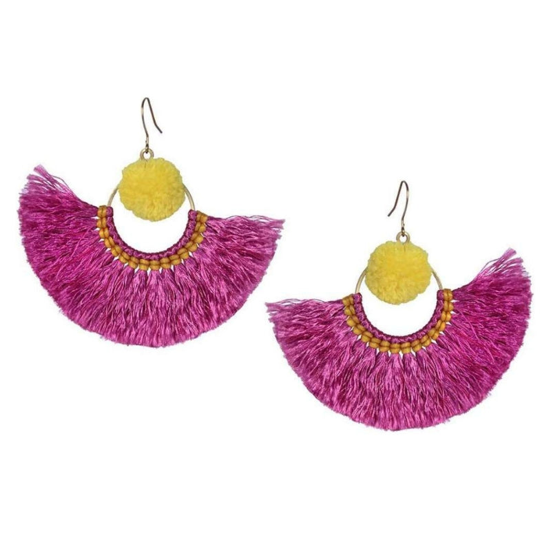 No.24 - Women's Tribal Tassel Earrings in Yellow and Pink