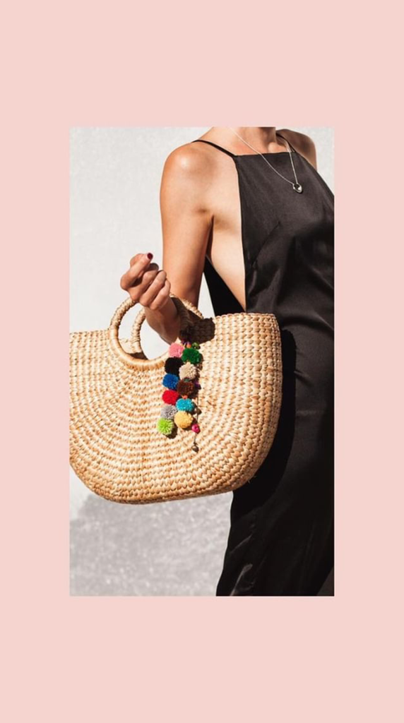 No.24 Women's Large Basket Bag with Pom Poms and Tassels