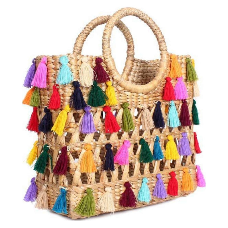 No.24 Women's Basket Bag Tote with Multicolour Tassels