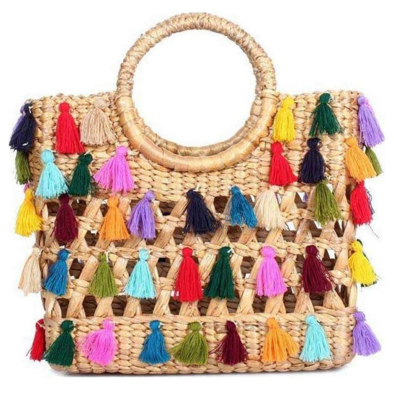 No.24 Women's Basket Bag Tote with Tassels Multicolour