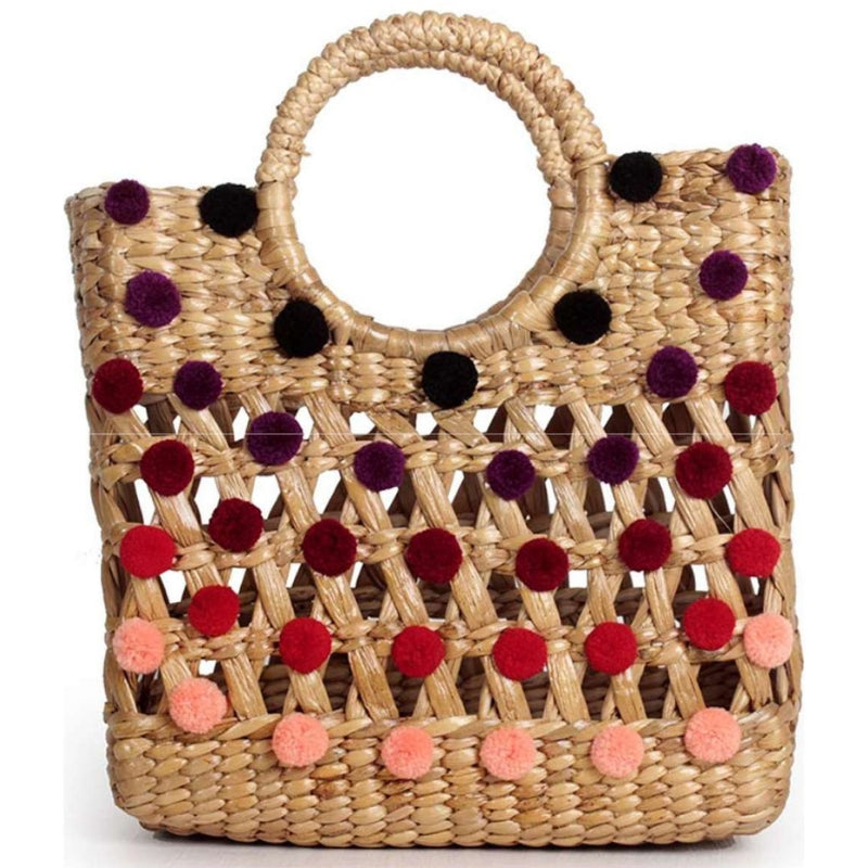 No.24 Women's Pom Pom Basket Bag Tote