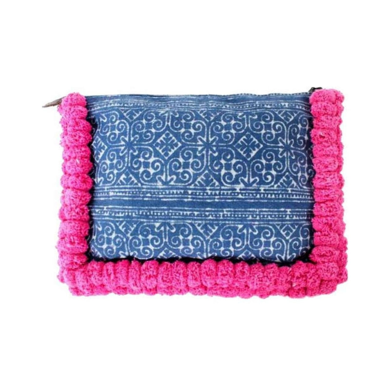 Blue Batik Clutch Bag with Pink Pom Pom Details