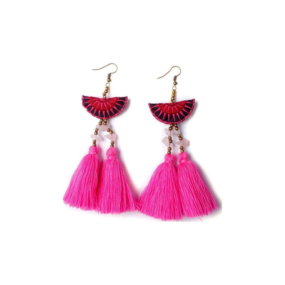 Hmong Double Tassel Earrings in Pink