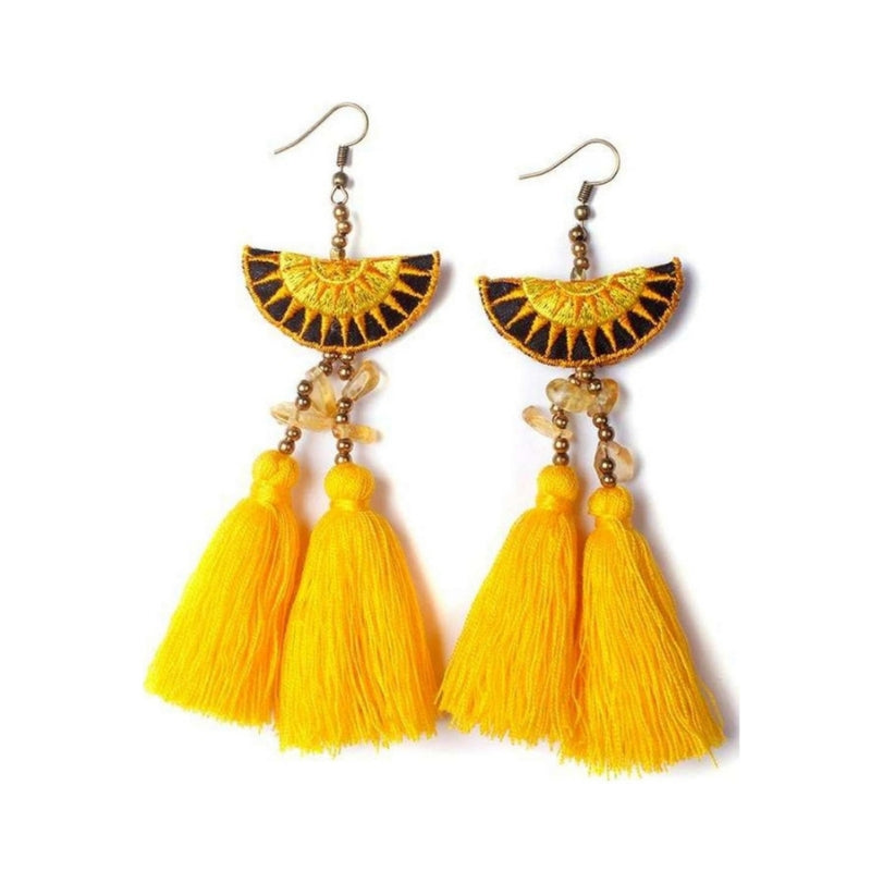 Boho Tassel and Star Earrings in Yellow