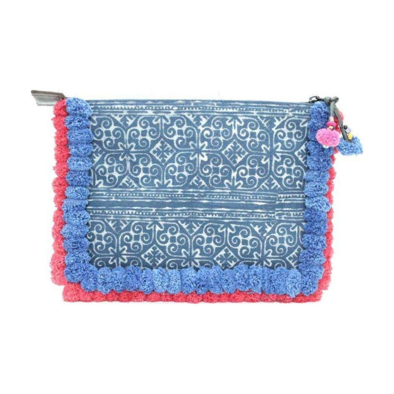 Boho Batik Clutch with Red and Blue Pom Pom Details